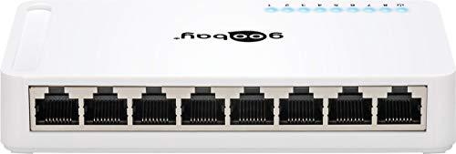 Goobay 93373 Hub 8 poorten, snelle ethernet switch, grijs