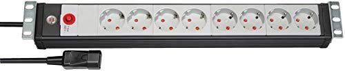 Brennenstuhl Premium-Line 19 Zoll Steckdosenleiste 8-fach / Steckerleiste für Schaltschränke (mit Kaltgerätestecker, 3m H05VV-F 3G1,0 Kabel, Made in Germany) Schwarz/Lichtgrau