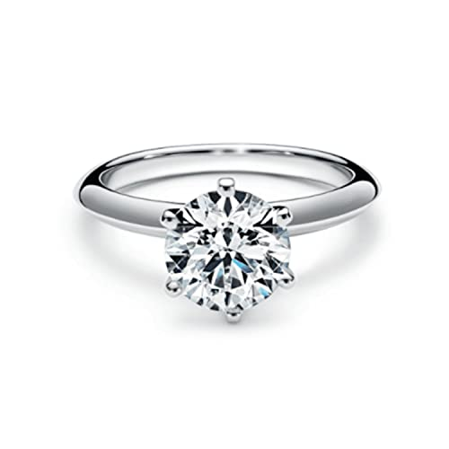 Anillo de compromiso de diamantes solitarios naturales de 1,02 quilates en platino, talla H