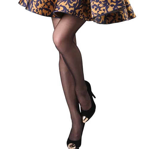 Selltex Strumpfhosen Damen - 10 Stück, 20 Denier Netzstrumpfhose, Feinstrumpfhose, Verstärkte Strumpfhose, Stützstrumpfhose, Reißfest, Schwarz, 3