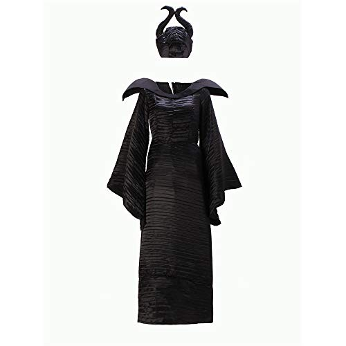 Dormir de Halloween de la Bruja Maléfica Belleza de Vestuario para el Vestido de Edad Mujeres Bruja Malvada Cuerno Sombrero Traje Película,XL