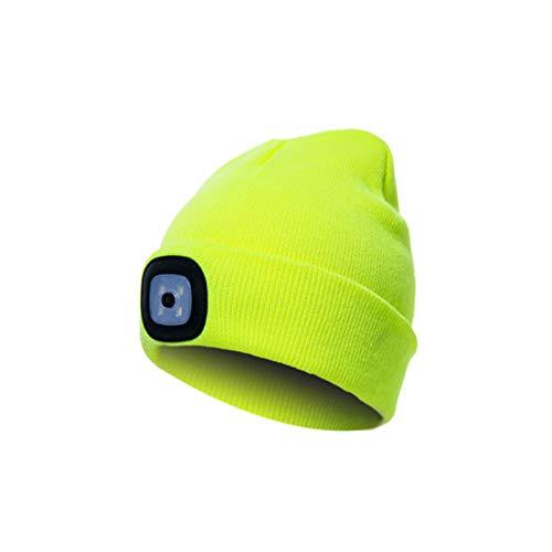 Berretto unisex con luce LED, caldo cappello lavorato a maglia invernale, luce LED staccabile e luminosità regolabile (3 livelli di luminosità) per arrampicata e corsa all'aperto,Fluorescent yellow