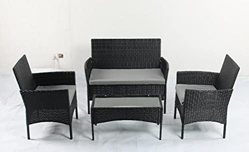 Rattan Garden Furniture Set, 4 Piece Patio Rattan Furniture Sofa Weaving Wicker Includes 1 Table, 2 Armchairs with 1 Double Seat Sofa with Grey Cushions