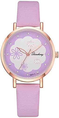 JZDH Mano Reloj Reloj de Pulsera Creativo Pulsera Reloj Mujeres Moda Cuero Negro Cuarzo Relojes de Pulsera Damas Reloj relogiono relajo Mujer Relojes Decorativos Casuales (Color : Morado)