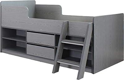 Seconique Felix Low Sleeper Bed, Grey, Single