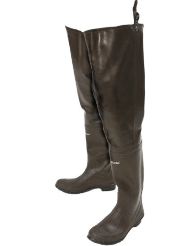 FROGG TOGGS Classic Rubber Bootfoot Hip Wader, Cleated Outsole, Brown, Size 10 (5716245)