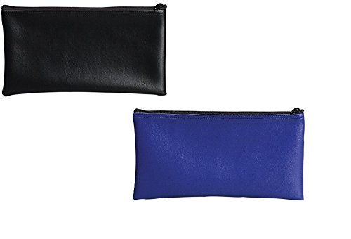 PM Company Securit Bank Deposit/Utility Zipper Coin Bag Combo Pack, 11 X 6 Inches, Black (04621) & Blue (04620)