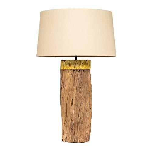 Natürliche Tischlampe PURE NATURE 73cm beige Massivholz mit Baumwollschirm Tischleuchte Nachttischlampe