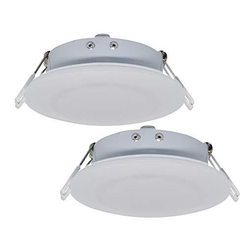 Facon Runde 12 V LED Deckenleuchte Puck Licht Einbauleuchte für Campervan Wohnmobil Wohnwagen Anhänger Boot Marine und Fahrzeug(Packung mit 2 Stück)
