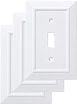 Franklin Brass W35241V-PW-C Classic Architecture Single Switch Wall Plate/Switch Plate/Cover White 3-Pack