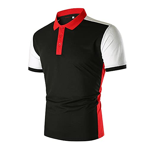 feftops Camiseta de Manga Corta para Hombre 2021 Verano Casual Empalme Polo Camiseta Deporte Moda Diario Slim Fit Casual Blusas Suave Cómodo Camisetas