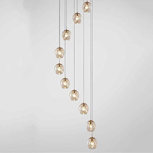 YQGOO - Lámpara de techo con 10 bolas de cristal en espiral...