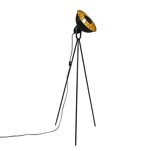 QAZQA Moderno Lámpara de pie industrial trípode negro con oro - Magna Basic 25 Acero Redonda/Alargada Adecuado para LED Max. 1 x 40 Watt