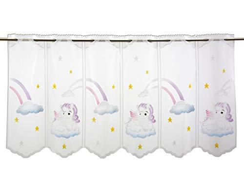 Scheibengardine Pegasus Höhe 50cm | Breite der Gardine frei wählbar in 15,5cm Schritten | Kinderzimmer Gardine | Panneaux Unicorn Multicolor | Bistrogardine | Einhorn |