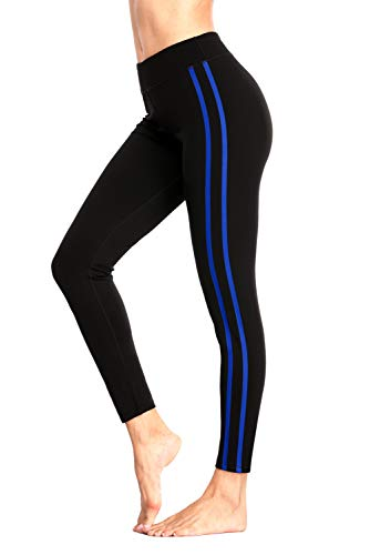 Charmo Damen Leggins Sport Essentials 2-Streifen Sport Leggings Trainingstights Schwarz& Blau, M
