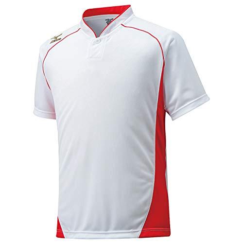 ミズノ(MIZUNO) グローバルエリート ベースボールシャツ・小衿・ハーフボタン 12JC6L11 62 ホワイト/レッド S