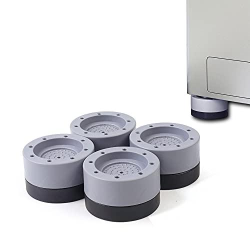 Aloces 4 almohadillas para los pies de la lavadora, amortiguador de vibraciones, para lavadora, antideslizante, de goma, amortiguador de vibraciones, para lavadoras y secadoras (gris)