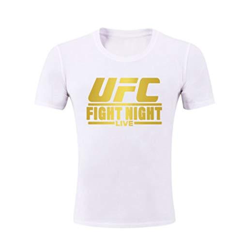 Camisetas Camiseta para Hombres, MMA Fitness UFC Carta de Entrenamiento de impresión, Personalidad con Estilo (Size : XXX-Large)