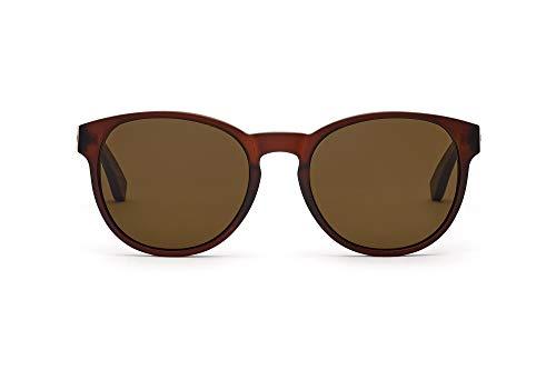 TAKE A SHOT The Gryphon – Holz-Sonnenbrille, Walnussholz-Bügel, matt-brauner transparenter Kunststoff-Rahmen, 100 % UV-Schutz, rückentspiegelte Gläser