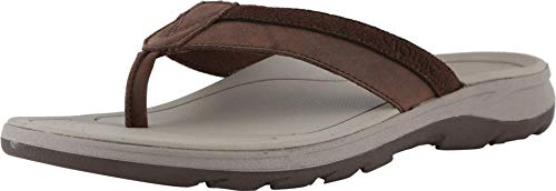 Vionic Canoe Dennis Toe-Post Sandal - Men's Leather Flip-Flop with Concealed Orthotic Arch Support