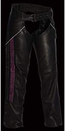 4X-Large Milwaukee Leather MLL6501 Ladies Crinkled Black and Pink Leather Lightweight Low Rise Chaps