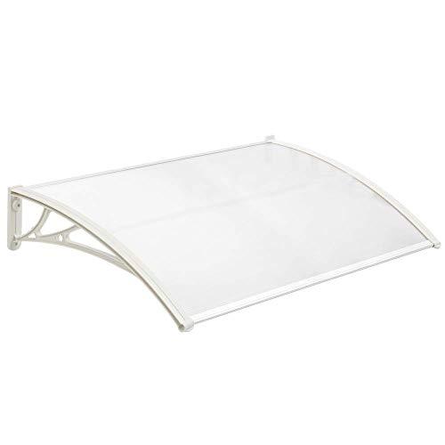 PrimeMatik - Tejadillo de protección 120x60 cm Transparente. Marquesina para Puertas y Ventanas con Soporte Blanco