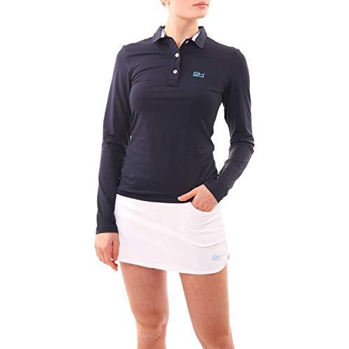 SPORTKIND Polo aux Manches Longues pour Tennis/Golf/Sport pour Filles et Femmes, Bleu Marine, Taille Medium (38-40)