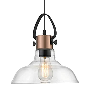 YEEHOME Hanging Pendant Lighting Fixture, Industrial Vintage Style Pendant Lamps with Adjustable Height, Clear Glass Shade for Indoor or Outdoor Users