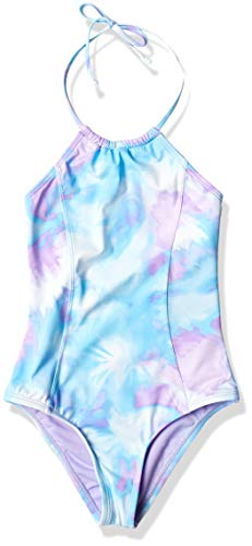 Hobie Girls' Big Neck Halter One Piece Swimsuit, Blue//high Tie Dye, 12