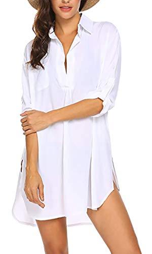 Yuson Girl Cardigan – Vestido de playa en v-Cou grande para mujer, camiseta de manga larga, de pareo transparente blanco XL