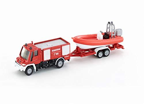 siku 1636, Feuerwehr Unimog mit Boot, Metall/Kunststoff, Rot, Schwimmfähiges Boot
