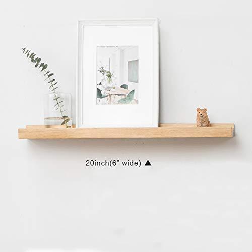 Inman Home - Estante flotante de madera de roble macico, con soporte oculto, 30,5cm, Actualización (versión más gruesa), marrón, 20' (50,8 cm)