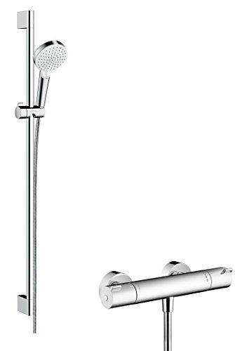 Hansgrohe 27813400 Crometta Vario combinación de set de ducha y termostato, 2 tipos de chorro, 0,90m, blanco/cromo