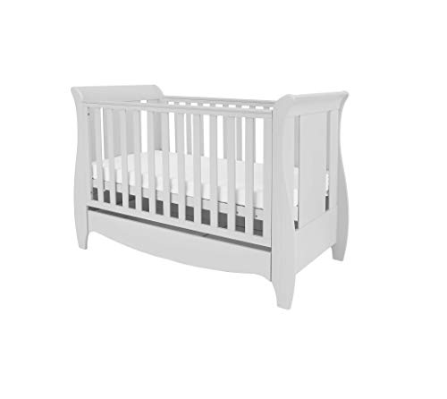 Tutti Bambini Roma Wooden Sleigh Cot Bed with Space Saver Under Bed Drawer - 120 x 60cm 3 Adjustable Positions (Dove Grey)
