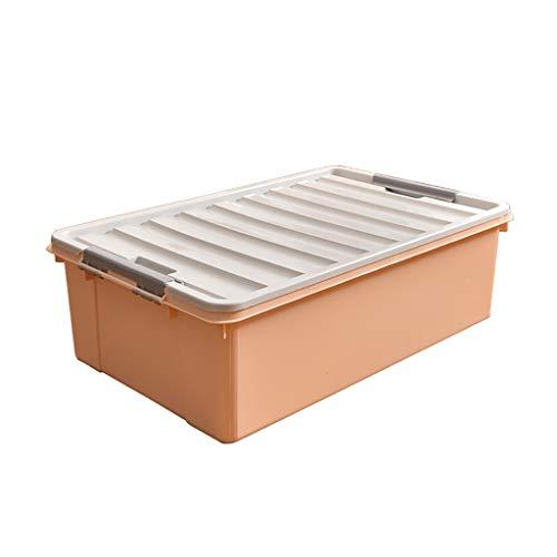 NE-xj sänglåda stapelbar organisatör plast platt hushåll förvaringslåda för säsongsbetonade kläder, täcken etc. (Färg: B)