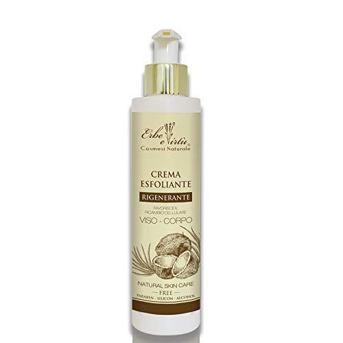 Esfoliante Viso e Corpo delicata fragranza di Cocco 200 ML - Preziosi Fitoestratti - Elimina lo strato superficiale della cute - Stimola la microcircolazione - leviga e illumina la pelle.