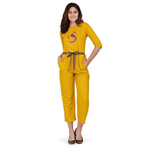 J B Fashion Women's Riyon Cotton Multi Color Jumpsuit (Large,...