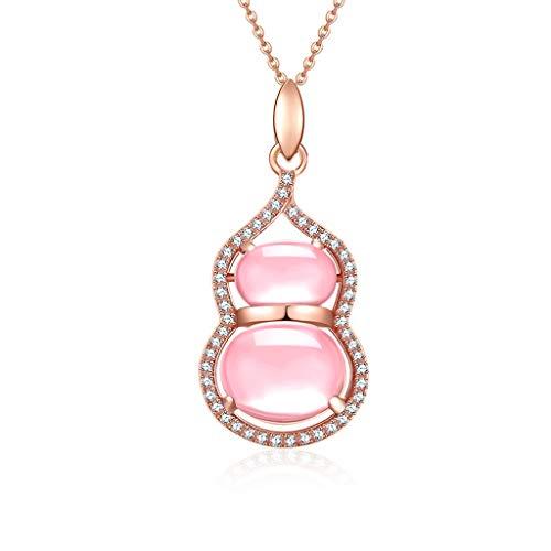 Collar de Inspiración Calabaza colgante S925 collar de plata con cristal de color rosa y collar pendiente circonio cúbico de collar de regalo colgante ajustable Exquisita Decoración para Mujeres y Niñ