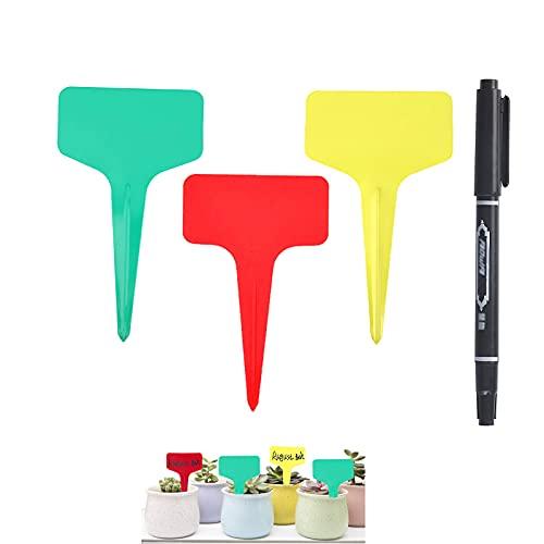 Mizijia Etichette per Piante ,120 pcs tre colori Marcatori a T per Piante (10 x 6 cm) ,per Etichette plastica per Piante da Giardino, Semi Erbe in Vaso.