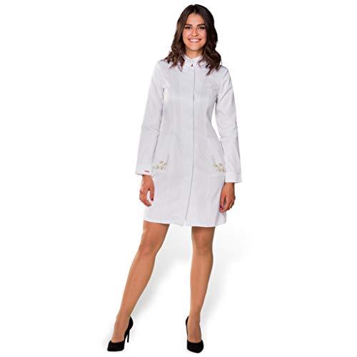 Scrubscology Bata de mujer Sofia, bata de laboratorio médico, fabricado en la UE Blanco 40