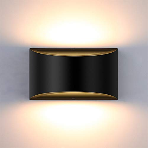 Lightess Modern LED Wall Sconce Dimmable Up Down Wall Lamp Black Bedroom Wall Sconces 12W Hallway Wall Mounted Lighting Fixtures for Stair Living Room, Warm White