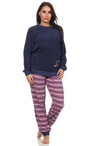 RELAX by Normann Damen Frottee Pyjama mit Bündchen - Hose gestreift, Oberteil mit Herz Motiv - 291 13 901, Farbe:Marine, Größe:44/46