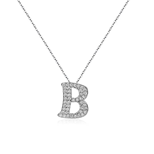 CRYSLOVE Initial Pendant Necklace 925 Sterling Silver Personalized Girls...