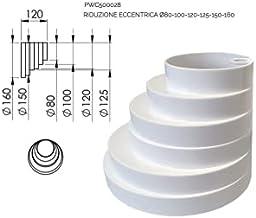 Uitstekende reduceerkegel 80-100-120-125-150-160 MF van PVC voor afzuigkap zonder beker.