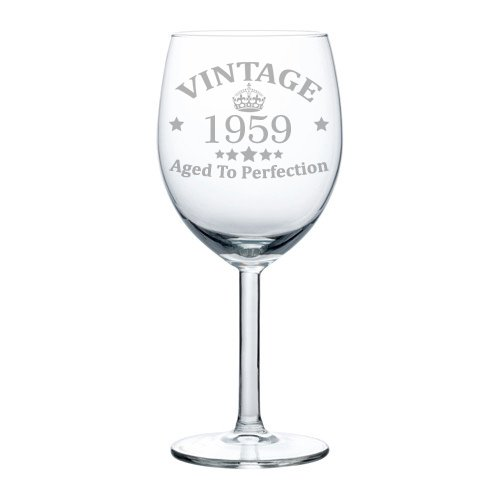 Wine Glass Goblet 60th Birthday Vintage Aged To Perfection 1959 10 Oz