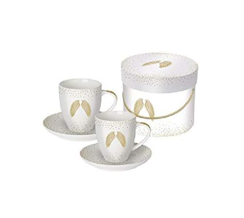 PPD Espressotassen 2er Set mit passenden Untertassen, Magnesiumporzellan, 100 ml (Holy Wings real Gold)