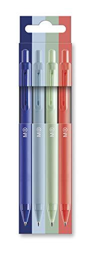 Miquel Rius - Pack 4 Bolígrafos de Clic - Tinta Semi Gel, Colores Azul, Celeste, Mint y Coral