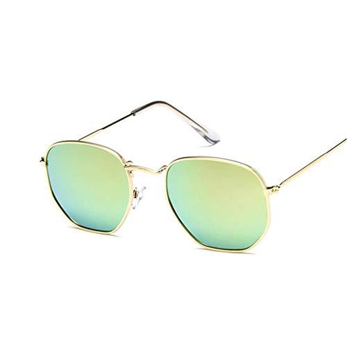 SHENY Gafas De Sol Mujer Poligonal Lady Luxury Retro Metal Gafas De Sol Vintage Mirror Uv400 Oro Rosa