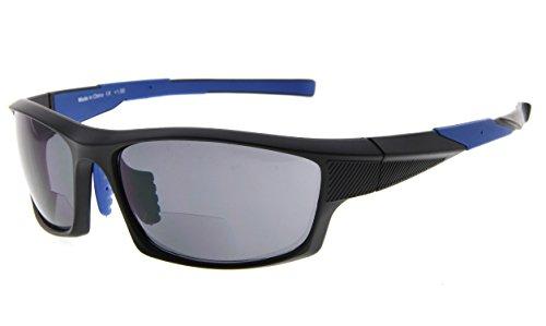 Eyekepper TR90 deportes bifocales gafas de sol béisbol Correr Pesca conducción Golf Softbol senderismo lectors (Negro Marco Azul Templo, +2.00)