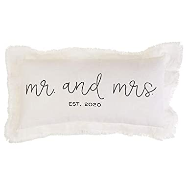 Mud Pie MRS EST 2020 Pillow, 11  x 22 , White